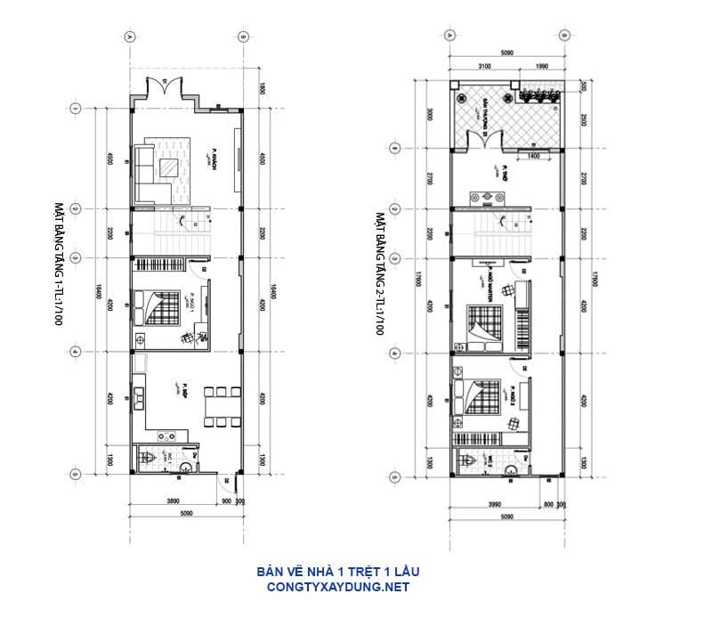 Bản vẽ mẫu nhà 1 trệt 1 lầu 5x15