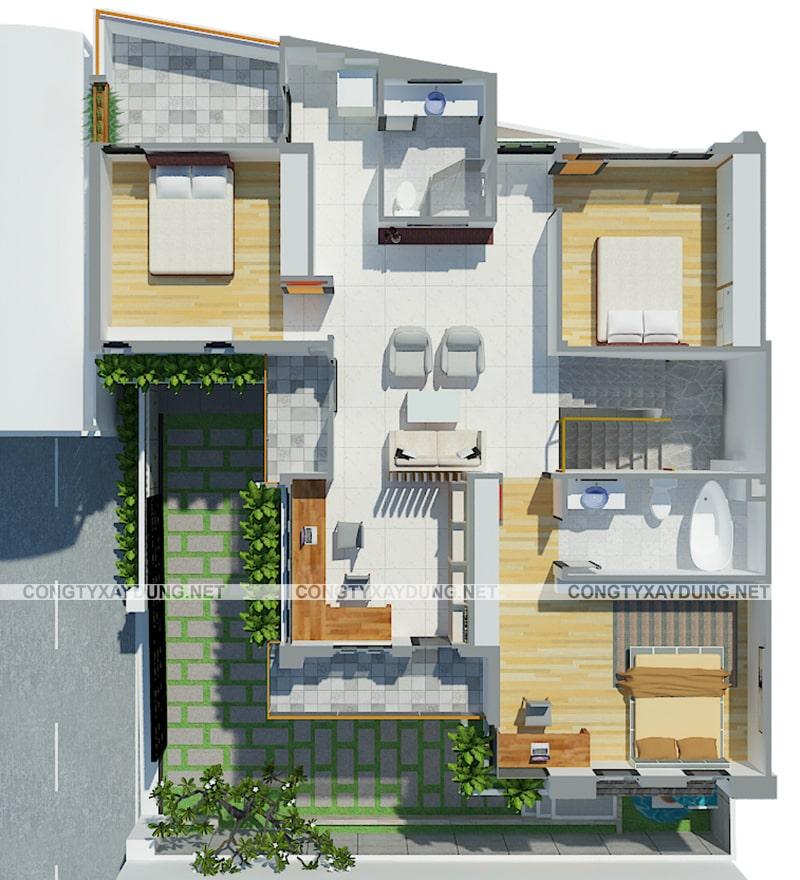 Mẫu thiết kế nhà 3 gian 2 tầng