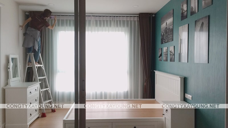 Thi công nội thất căn hộ chung cư 44 m2 cổ điển 1 phòng ngủ