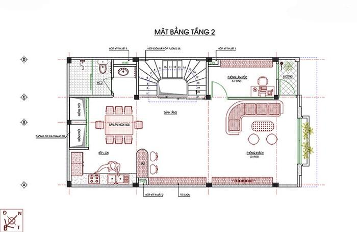 Bản vẽ thiết kế nhà 7x11 m2