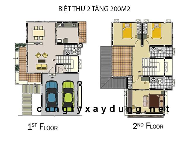 Thiết kế biệt thự 2 tầng 200m2 mái ngói