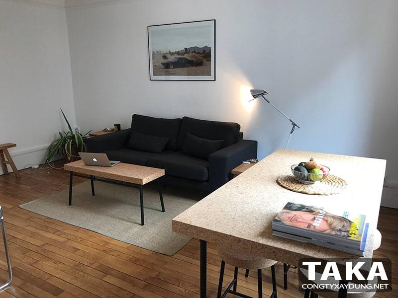 Thiết kế nội thất căn hộ chung cư 50m2 1 phòng ngủ cho vợ chồng trẻ