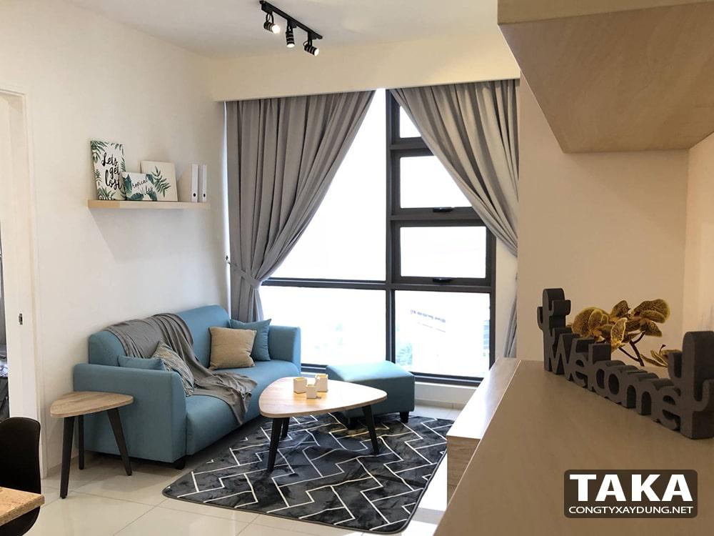 Thiết kế nội thất căn hộ chung cư 70m2 2 phòng ngủ