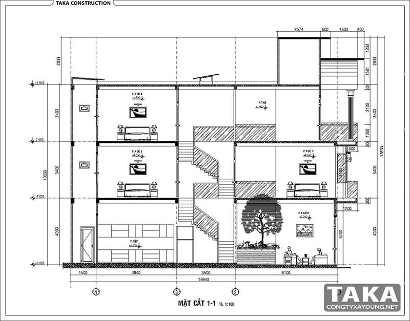 Thiết kế nhà ống 3 tầng 5x15 m2 tân cổ điển
