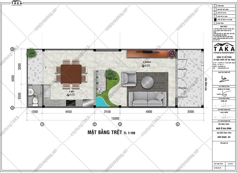 Bản vẽ mặt bằng nhà ống 3 tầng 5x15 3 phòng ngủ 1 phòng thờ