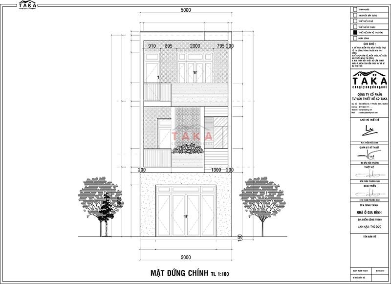 Bản vẽ bố trí mặt bằng nhà phố 3 tầng rộng 5m dài 19m