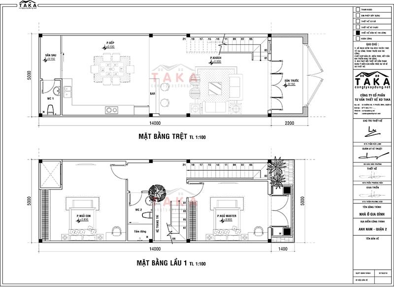 Bản vẽ mặt bằng thiết kế nhà phố 3 tầng 5x14m