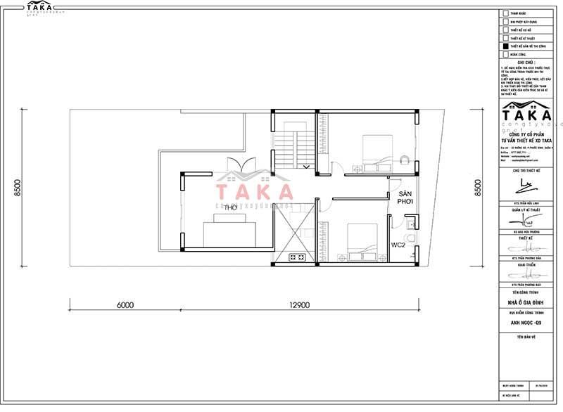 Bản vẽ nhà 2 tầng mặt tiền rộng 8m