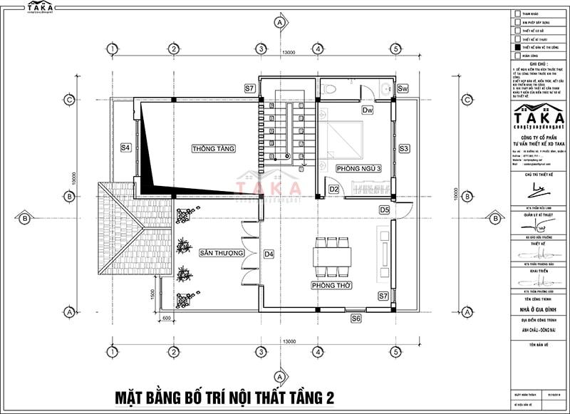 Bản vẽ thiết kế biệt thự 2 tầng 10x13m mái ngói