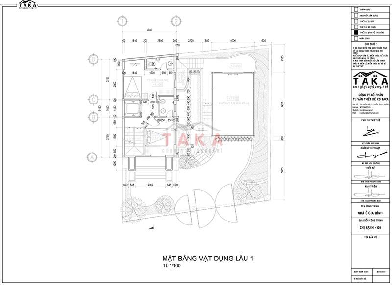 Bản vẽ thiết kế nhà 3 tầng 5x10