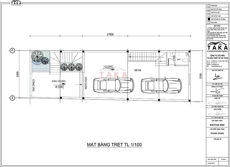 Bản vẽ thiết kế nhà 3 tầng 5x18m