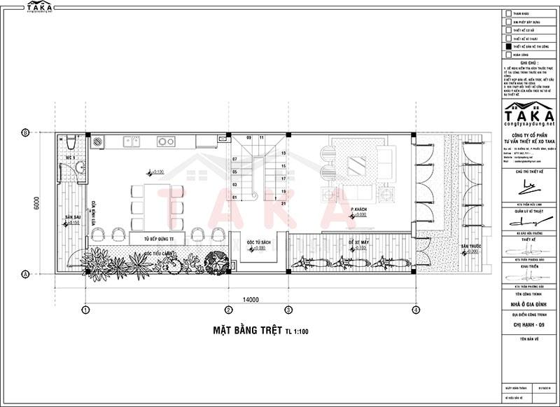 Bản vẽ thiết kế nhà ngang 6m dài 14m