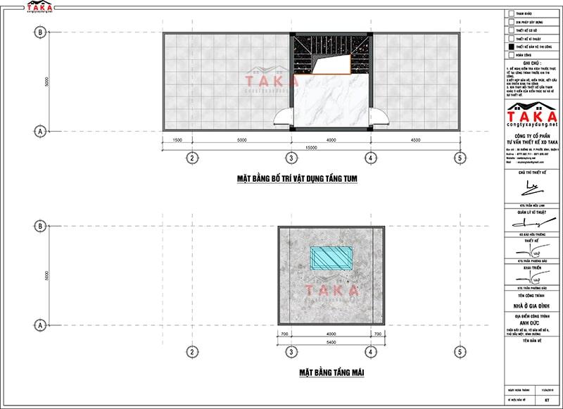 Bản vẽ mặt bằng nhà ống 2 tầng 5x17m