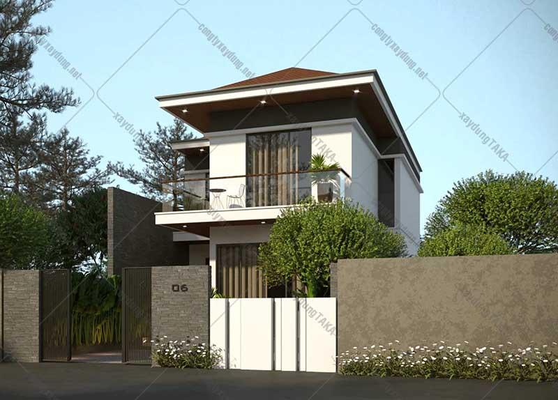 Thiết kế nhà 2 tầng mặt tiền rộng 8m