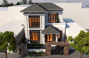 Thiết kế biệt thự 2 tầng 10x13m mái ngói