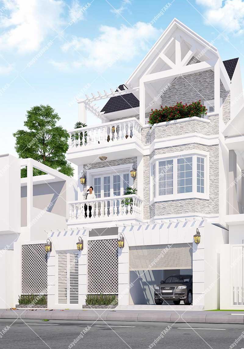 Thiết kế nhà 3 tầng tầng 7x12m tân cổ điển
