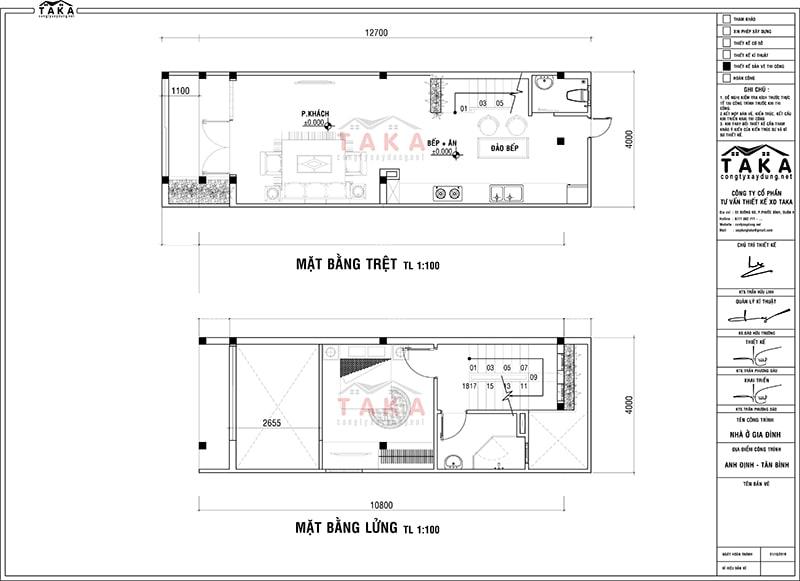 Bản vẽ thiết kế nhà ống 4x12m
