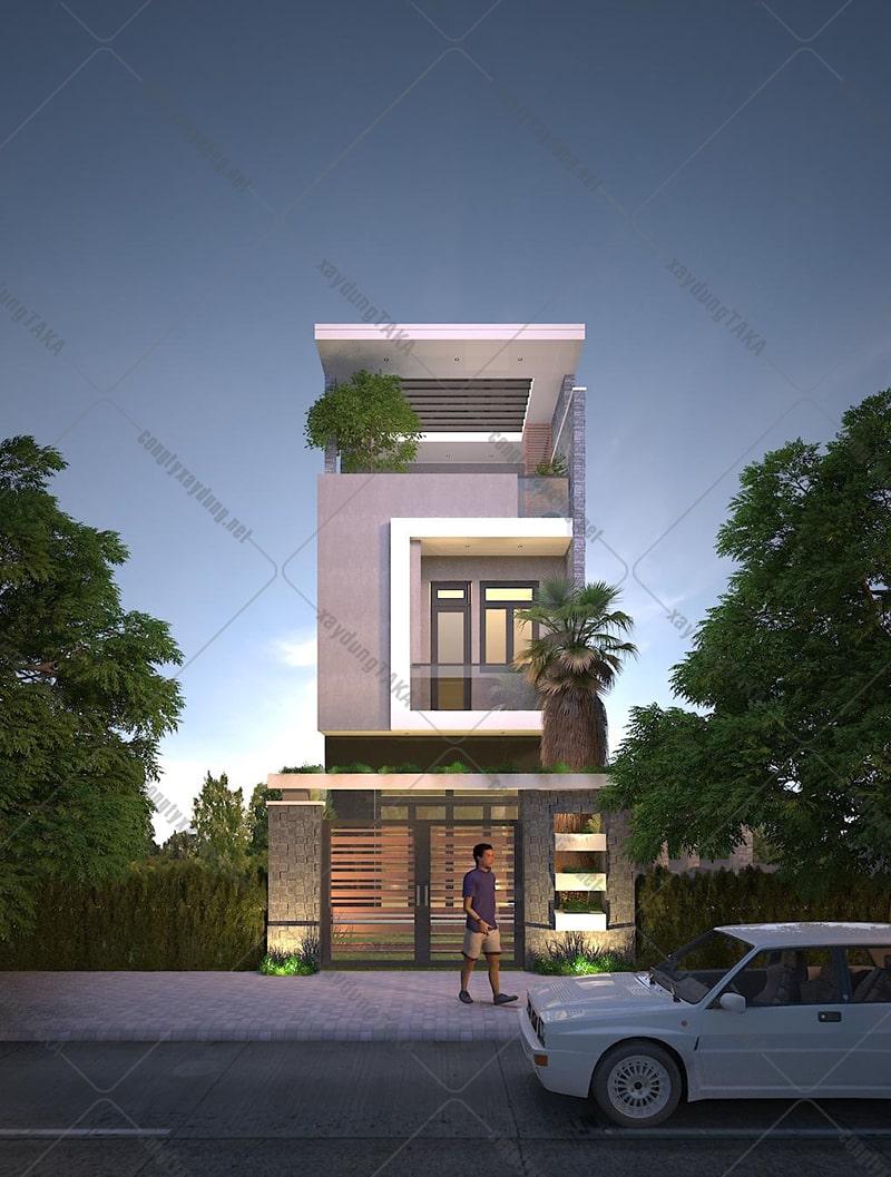 Thiết kế nhà phố 1 trệt 1 lầu sân thượng 5x20m hiện đại