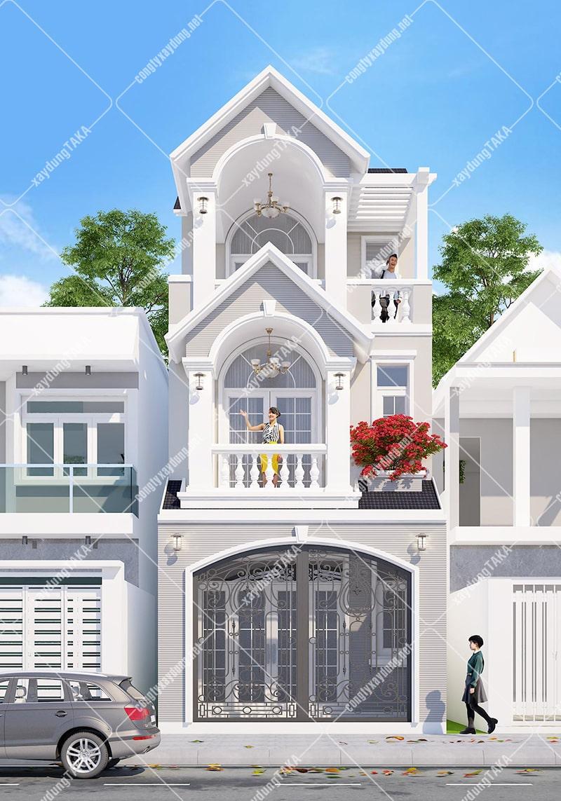 Thiết kế nhà phố 3 tầng 5x14m tân cổ điển