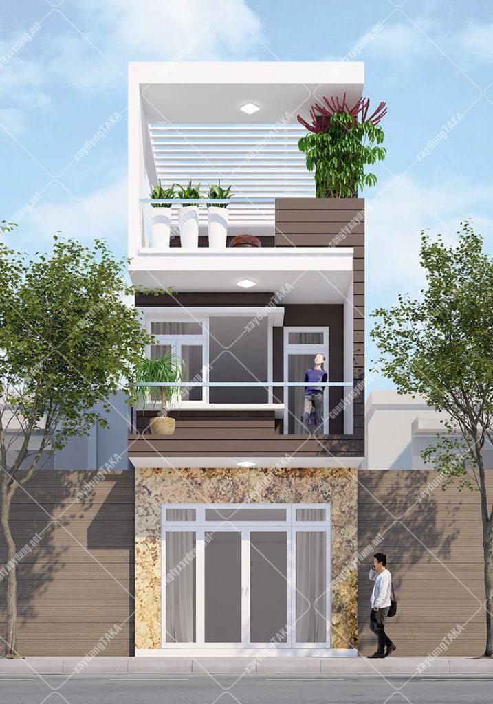 Thiết kế nhà phố 3 tầng 4x17m nở hậu