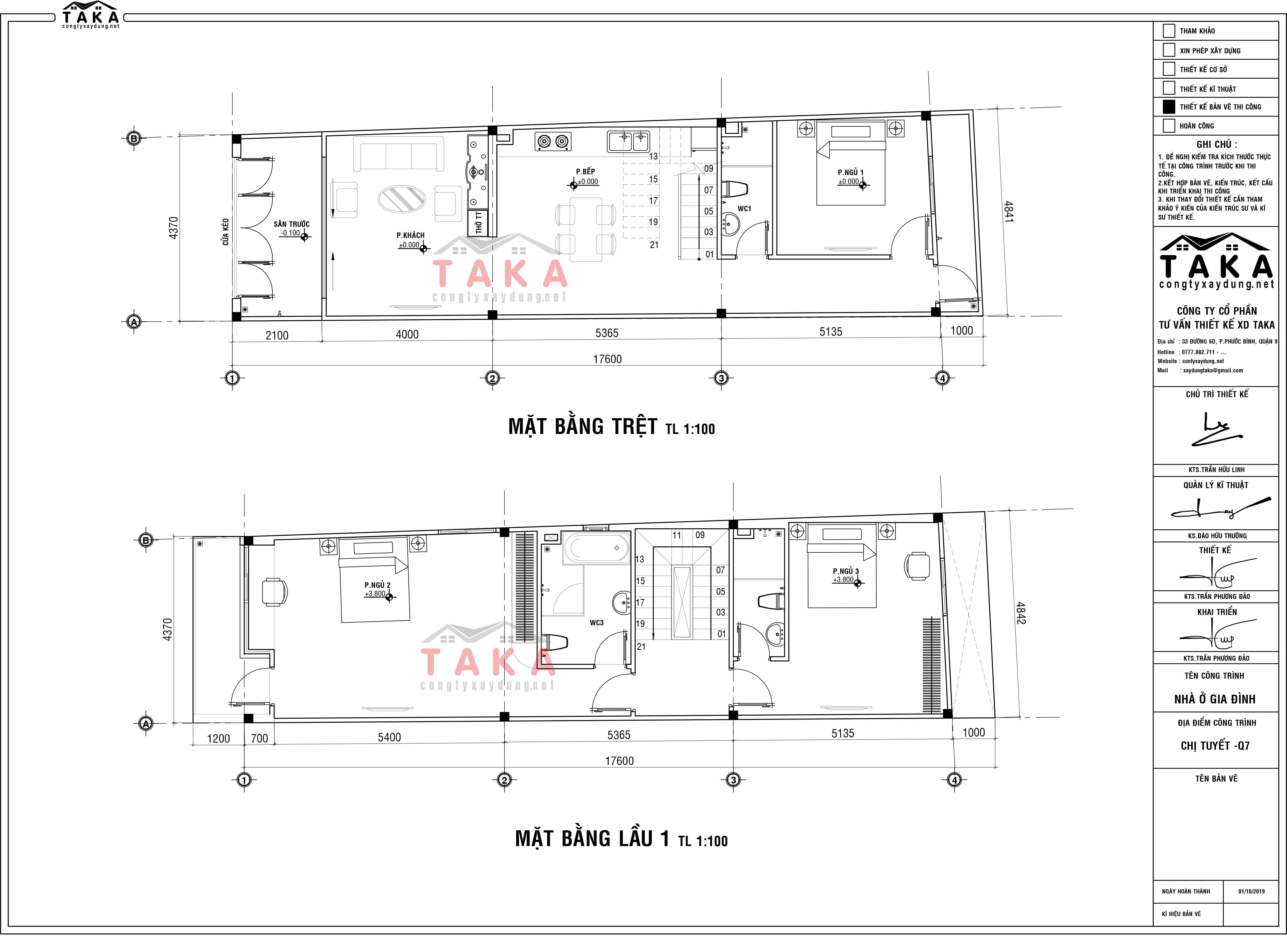 Bản vẽ thiết kế nhà phố 3 tầng 4x17m nở hậu