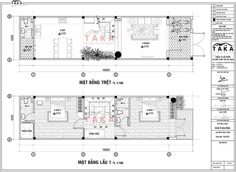 Bản vẽ mặt bằng nhà phố lệch tầng 4x16m