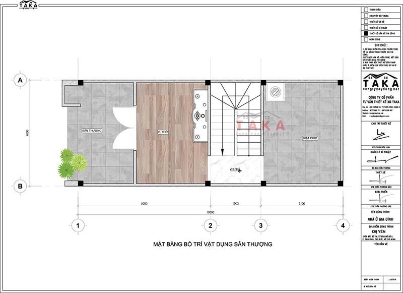 Bản vẽ mặt bằng nhà ống diện tích nhỏ 4x10 40m2