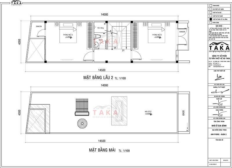 Bản vẽ mặt bằng nhà ống 3 tầng 4x14m
