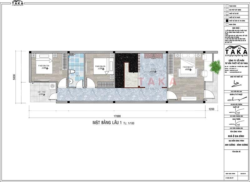 Bản vẽ mặt bằng nhà phố 1 trệt 1 lầu hiện đại