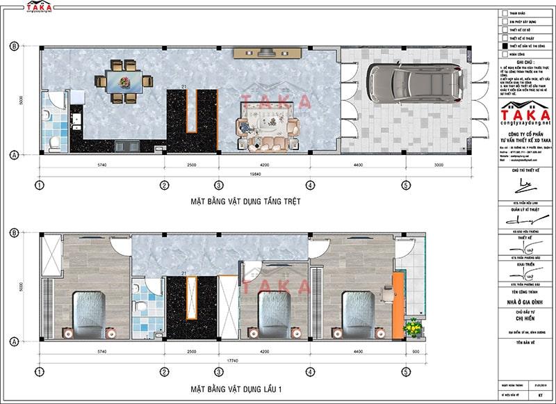 Bản vẽ nhà phố 1 trệt 1 lầu 1 sân thượng 5x17