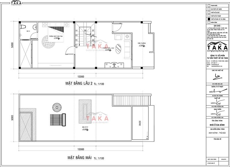 Bản vẽ mặt bằng nhà phố 3 tầng 5x13m hiện đại