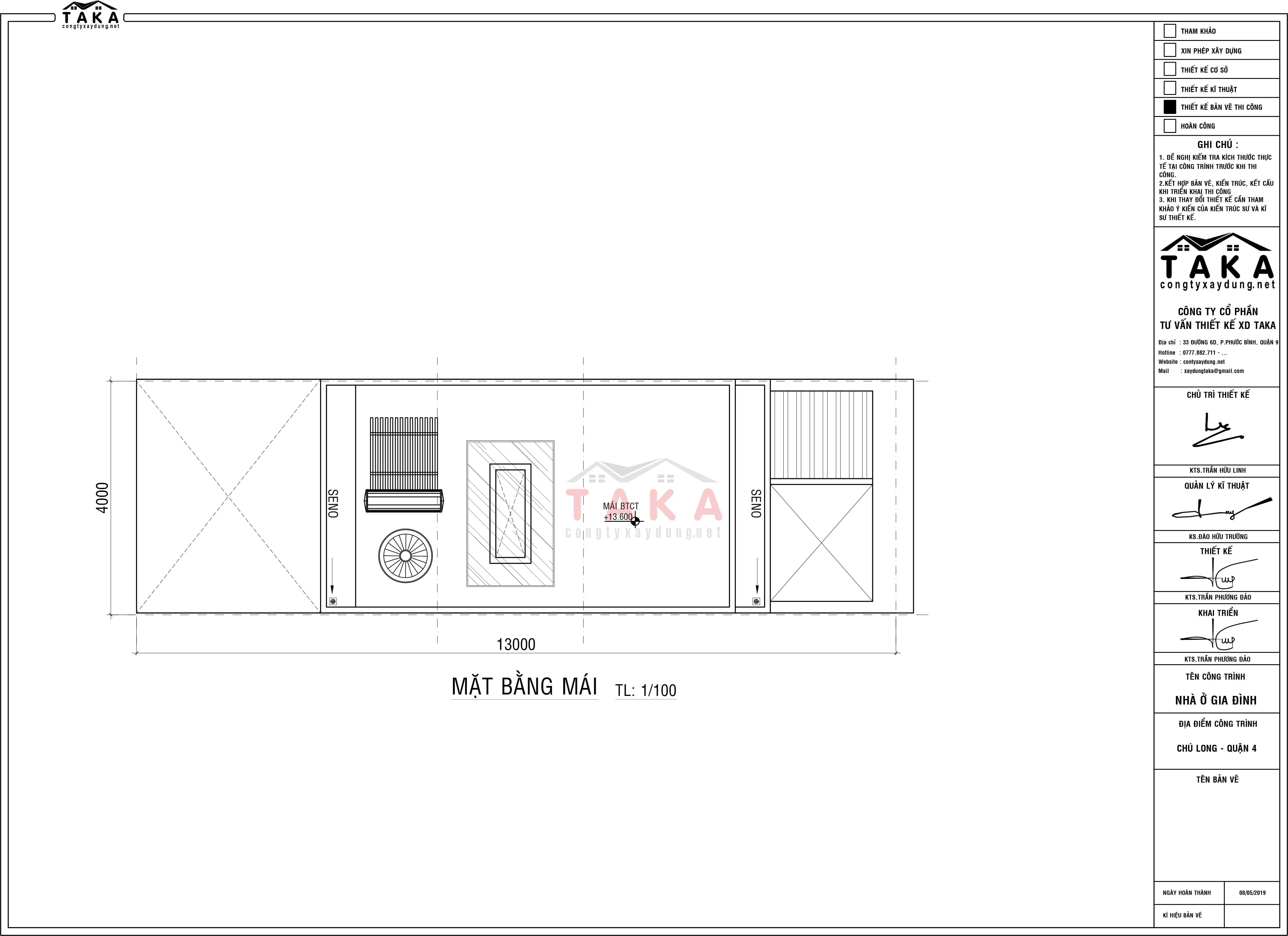 Bản vẽ mặt bằng nhà phố 4 tầng 4x13m kết hợp kinh doanh