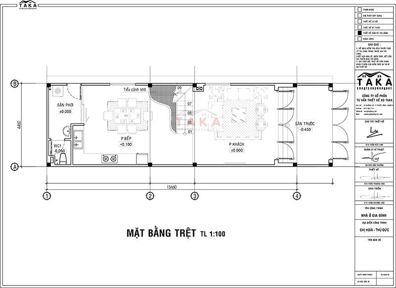 Bản vẽ mặt bằng nhà phố 4x13m 1 trệt 2 lầu