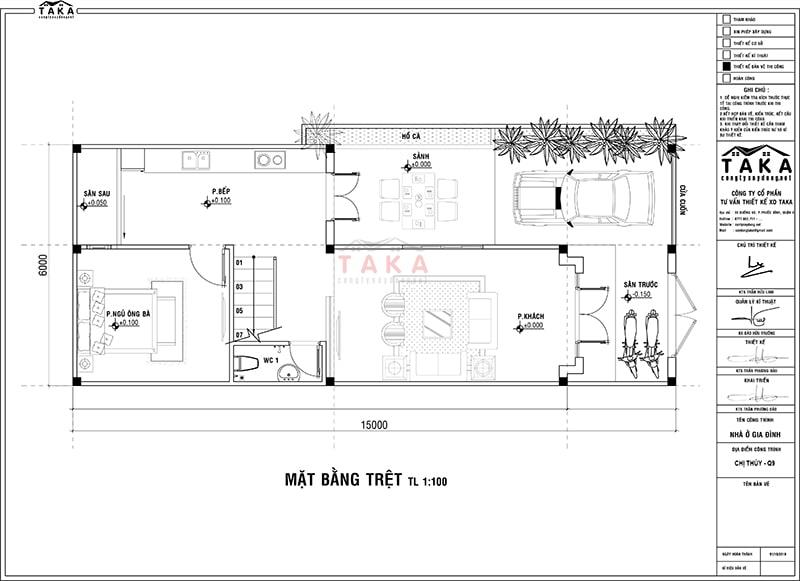 Bản vẽ mặt bằng thiết kế nhà 2 tầng ngang 6m dài 15m