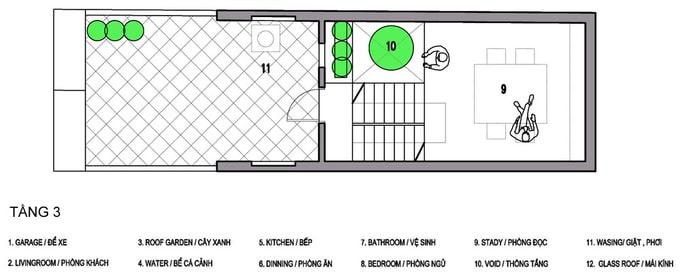 Bản vẽ mặt bằng nhà phố 3 tầng 4x13m đẹp