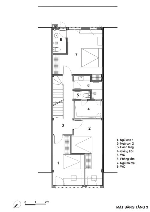 Bản vẽ mặt bằng nhà phố 4 tầng 5x14m có gara