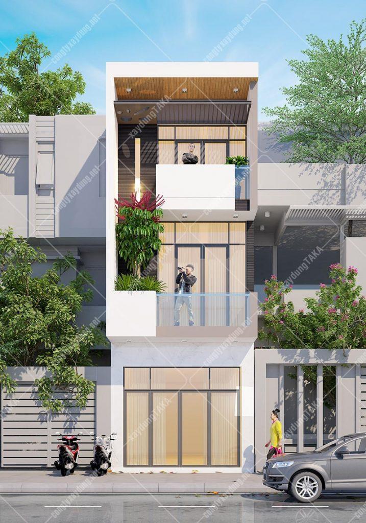 Thiết kế nhà ống 3 tầng 4x14m hiện đại