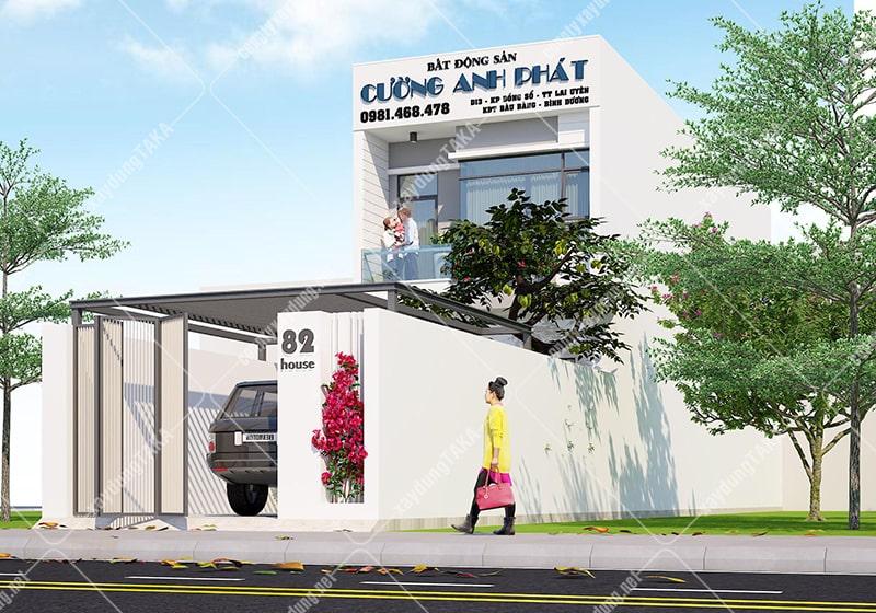 Thiết kế nhà phố 1 trệt 1 lầu 5x17m có gara