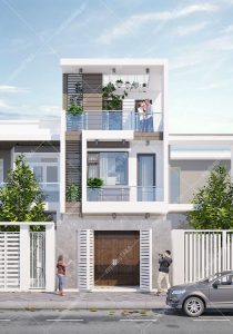 Thiết kế nhà phố 1 trệt 1 lầu 1 sân thượng 5x17 hiện đại