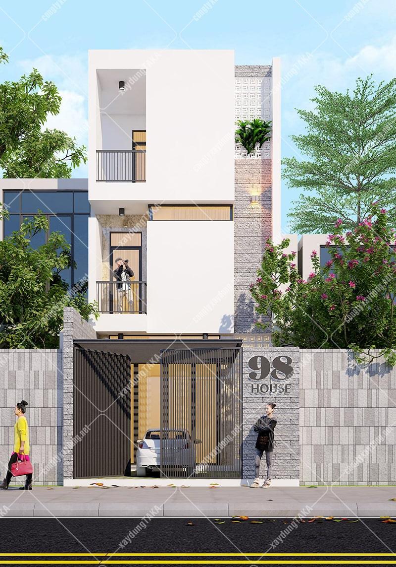 Thiết kế nhà phố 3 tầng 5x13m hiện đại hướng tây
