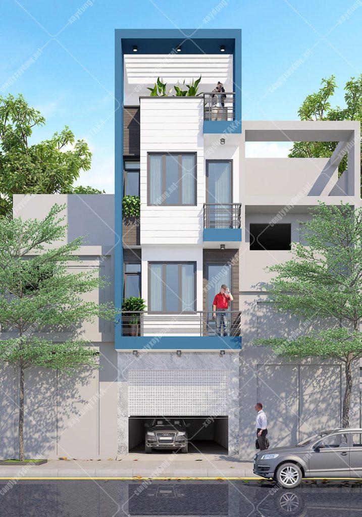 Thiết kế nhà phố 4 tầng 4x15m có gara