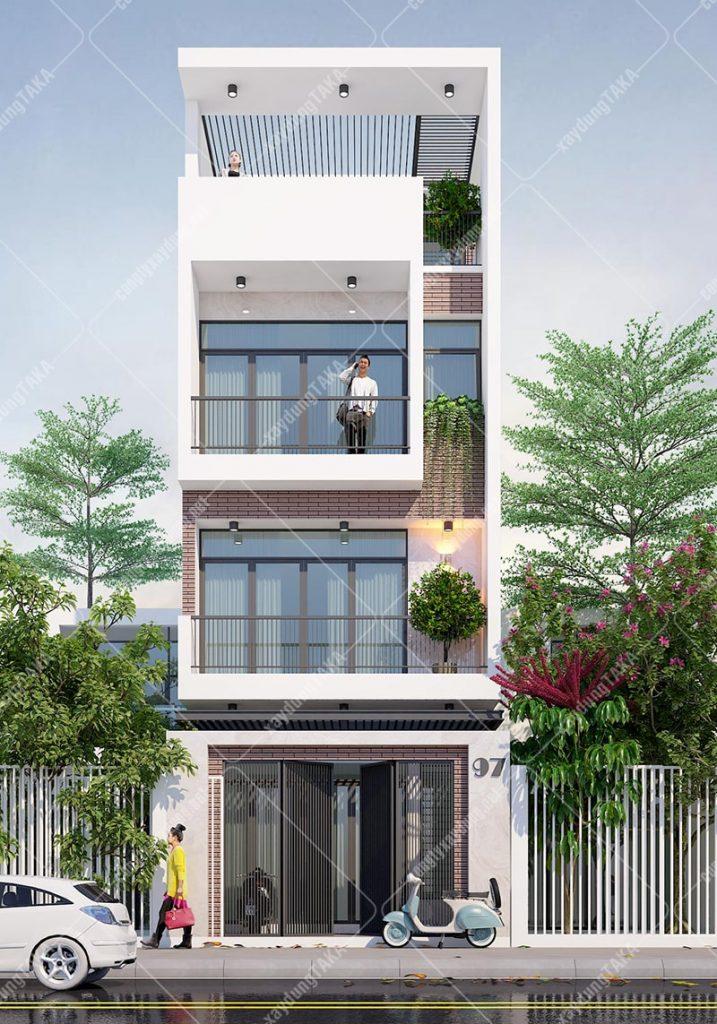 Thiết kế nhà phố 4 tầng 5x12m hiện đại