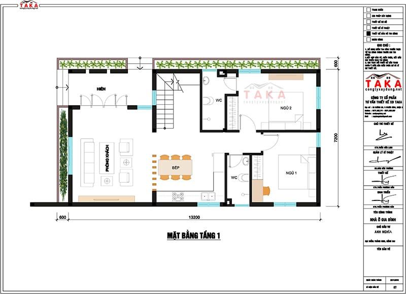 Bản vẽ mặt bằng biệt thự 2 tầng 7x13m hiện đại