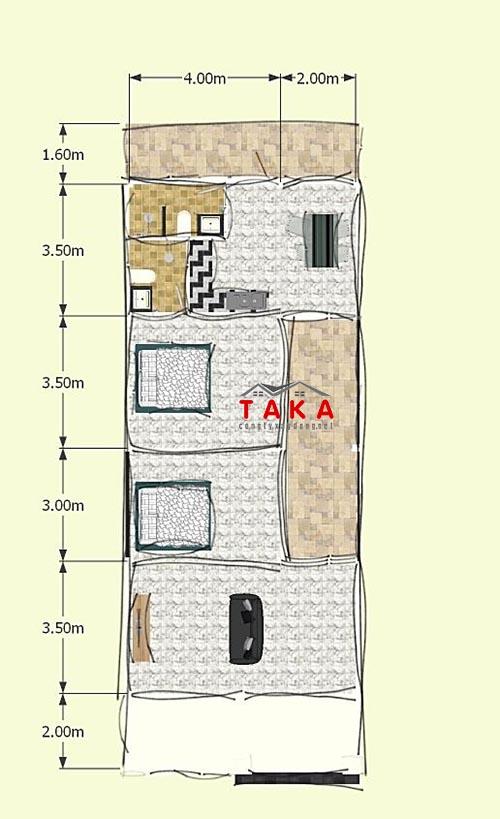 Bản vẽ mặt bằng mẫu nhà cấp 4 mặt tiền rộng 6m 2 phòng ngủ