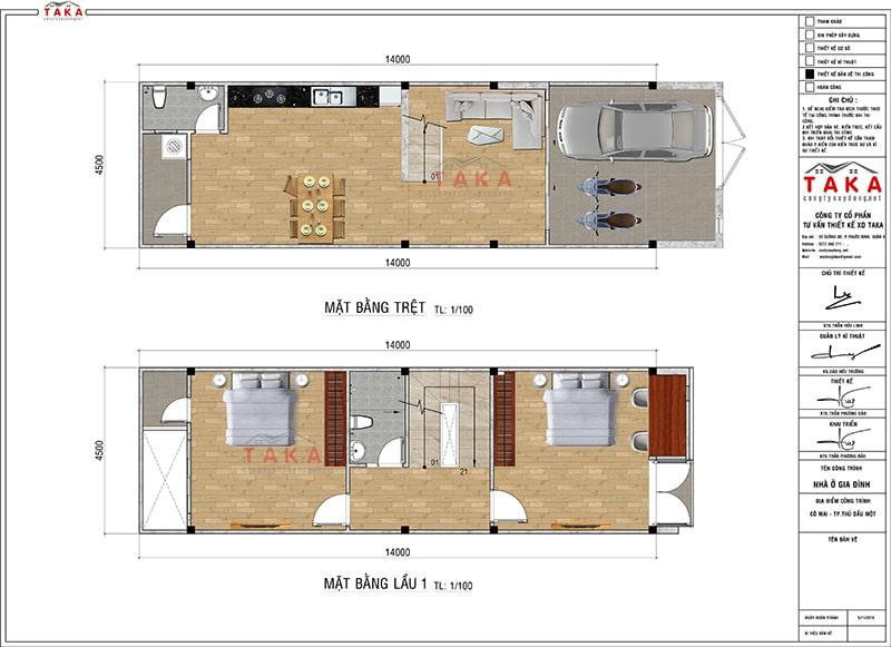 Bản vẽ mặt bằng nhà phố 1 trệt 2 lầu 4,5m x 14m