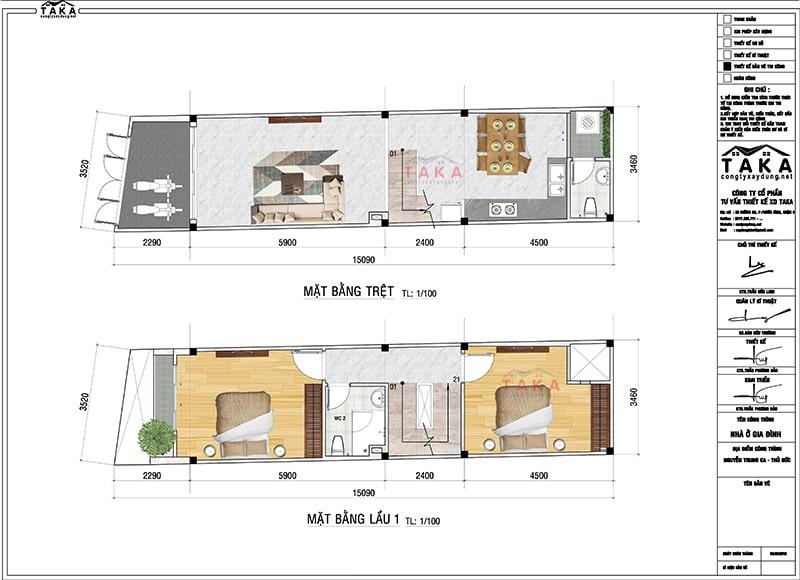 Bản vẽ mặt bằng nhà phố mặt tiền 3,5m x 15m hiện đại