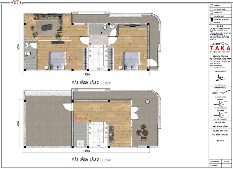 Bản vẽ mặt bằng nhà phố góc 2 mặt tiền 4 tầng hiện đại 5x13m