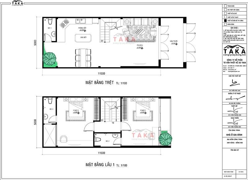 Bản vẽ mặt bằng nhà phố 4 tầng mặt tiền 5m dài 11,5m