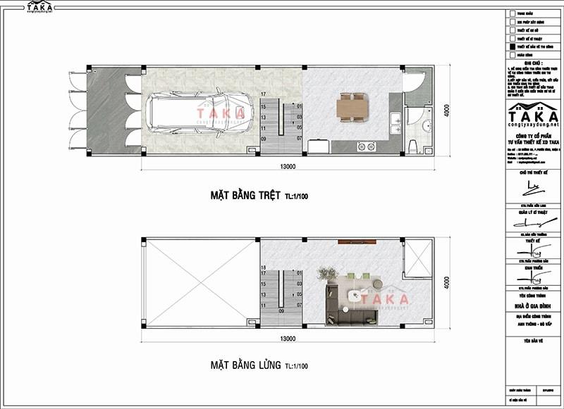 Bản vẽ mặt bằng nhà phố tân cổ điển 4x13m City Land