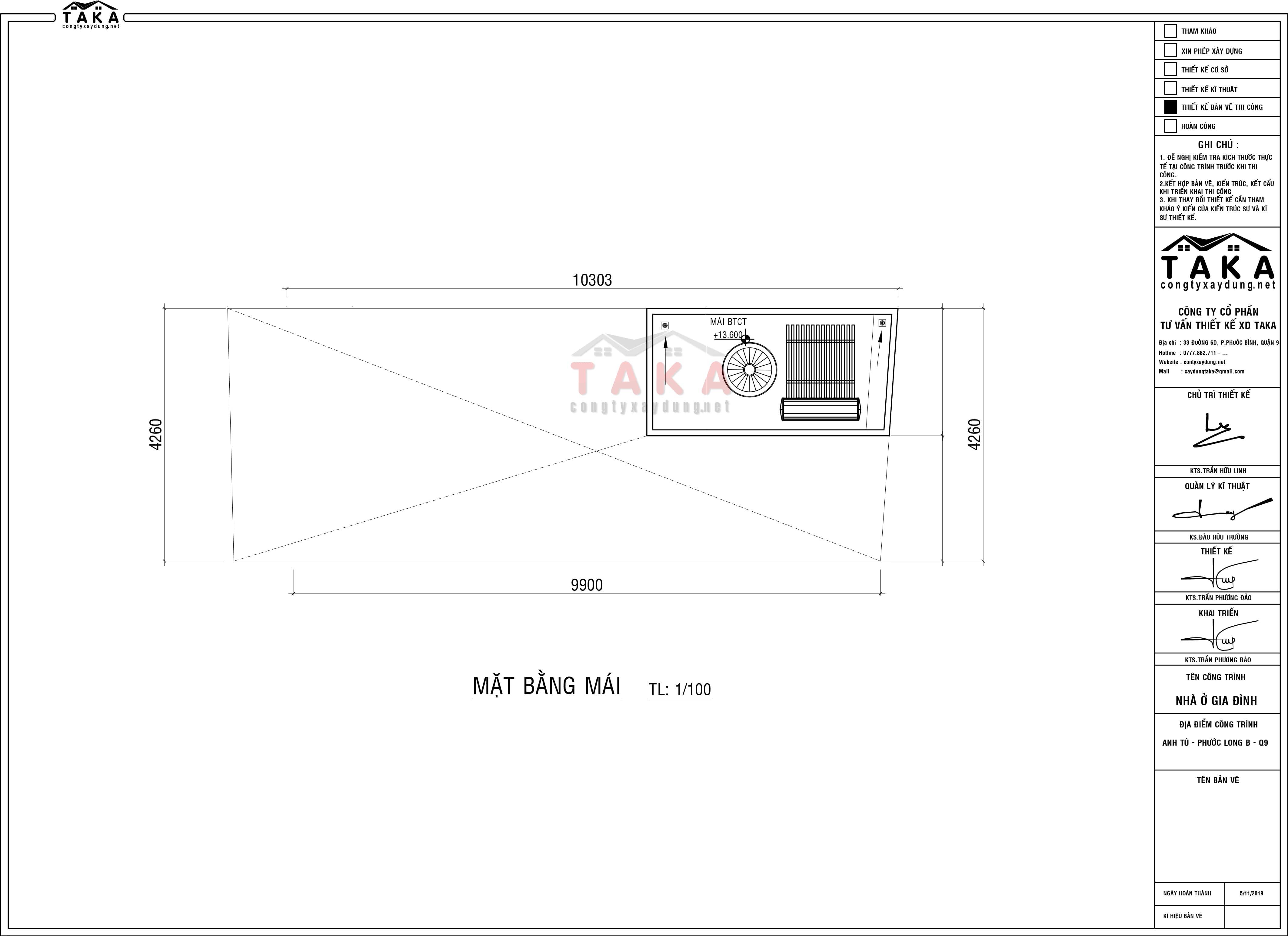 Bản vẽ mặt bằng nhà ống 3 tầng 4x10m